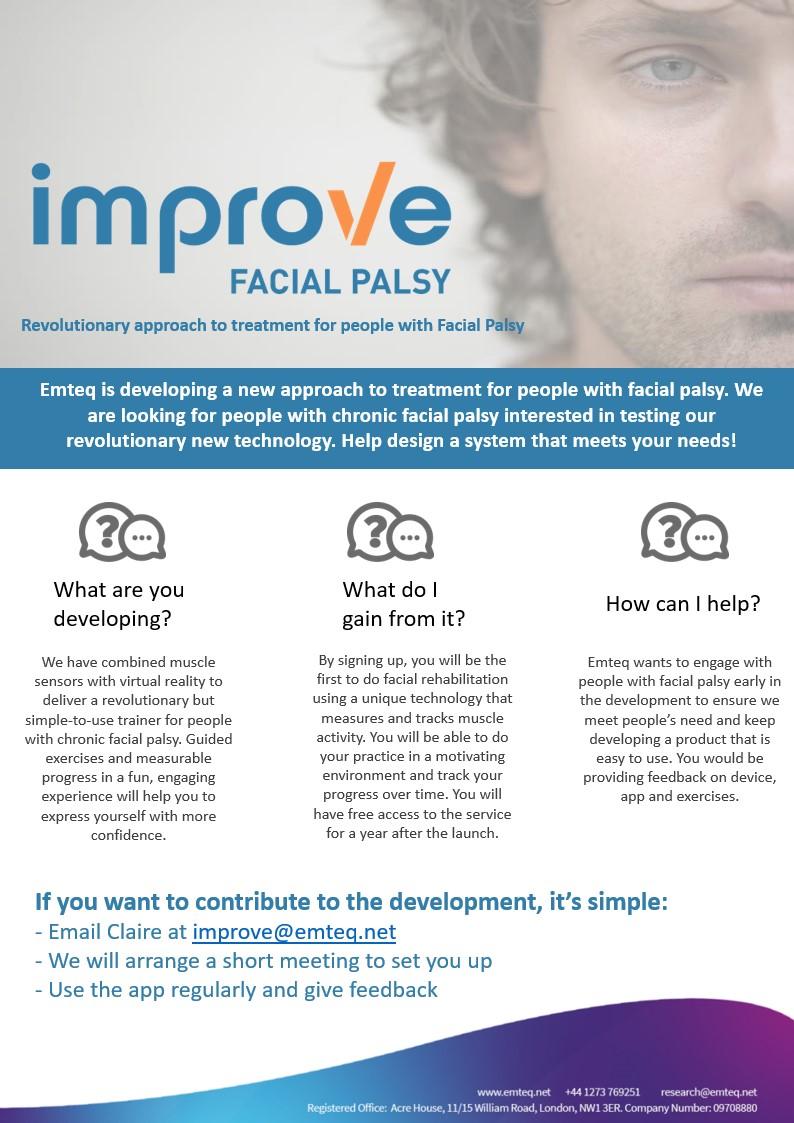 Improve Facial Palsy - Emteq Research Slide 1